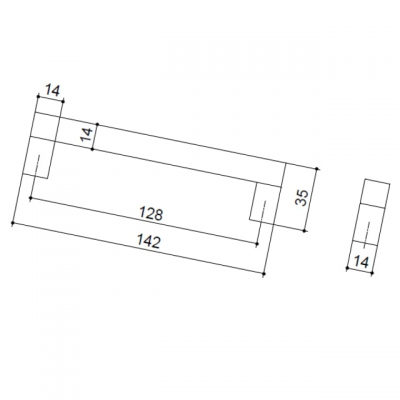 Ручка-скоба 128мм, отделка алюминий анодированный 7026/018