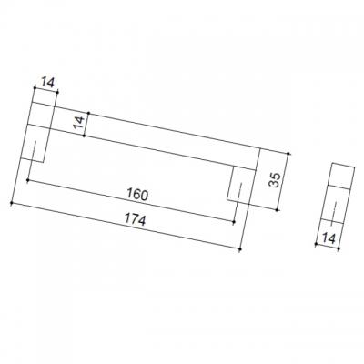 Ручка-скоба 160мм, отделка алюминий анодированный 7025/018