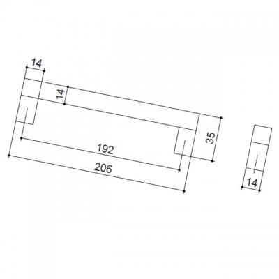 Ручка-скоба 192мм, отделка алюминий анодированный 7024/018