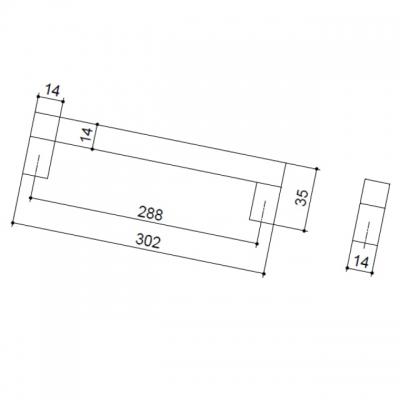 Ручка-скоба 288мм, отделка алюминий анодированный 7022/018
