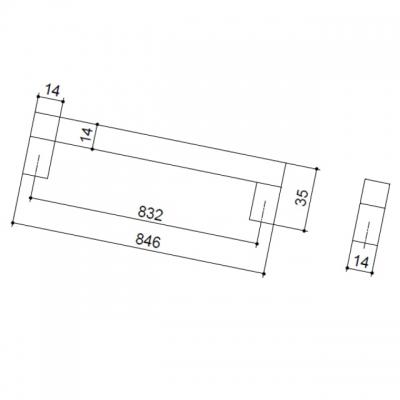 Ручка-скоба 832мм, отделка алюминий анодированный 7520/018