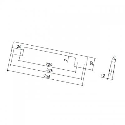 Ручка-скоба 288-256мм, отделка никель матовый 8.1013.288256.30