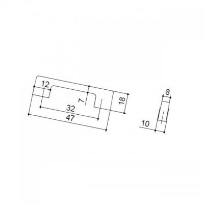 Ручка-скоба 32мм, отделка хром матовый лакированный 8.1013.0032.42