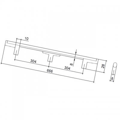 Ручка-скоба 608мм, отделка хром матовый лакированный + венге 8.1121.0608.42-1894