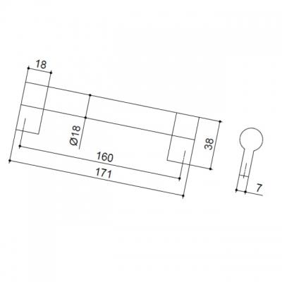 Ручка-скоба 160мм, отделка никель матовый 8.1033.0160.30-30
