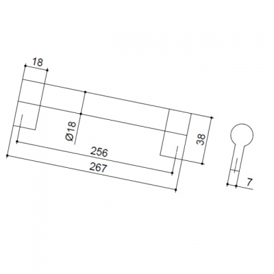 Ручка-скоба 256мм, отделка никель матовый 8.1033.0256.30-30