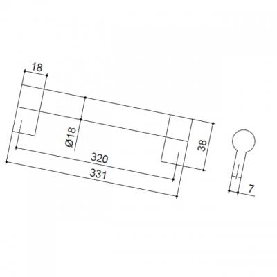 Ручка-скоба 320мм, отделка никель матовый 8.1033.0320.30-30