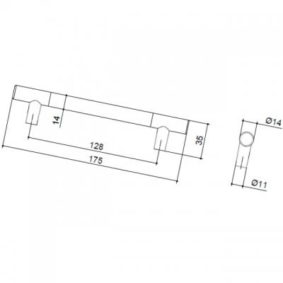 Ручка-скоба 128мм, отделка никель матовый 8.999.0128.30-30
