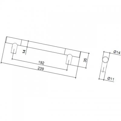 Ручка-скоба 192мм, отделка никель матовый 8.999.0192.30-30