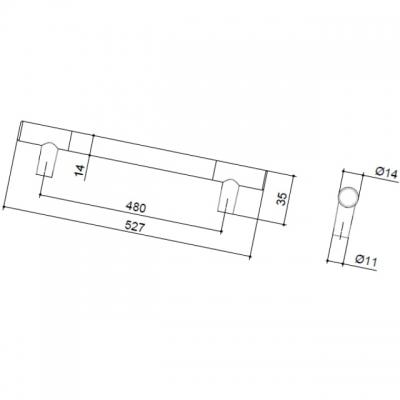 Ручка-скоба 480мм, отделка никель матовый 8.999.0480.30-30