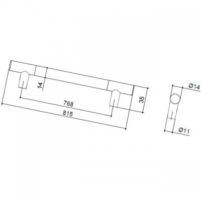 Ручка-скоба 768мм, отделка никель матовый 8.999.0768.30-30