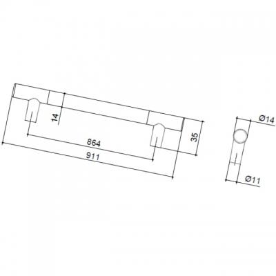 Ручка-скоба 864мм, отделка никель матовый 8.999.0864.30-30