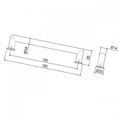 Ручка-скоба 160мм, отделка никель матовый 8.998.0160.30-30