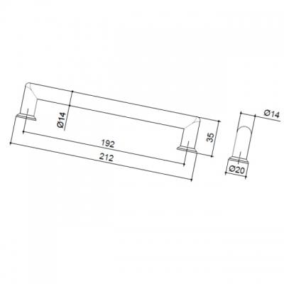 Ручка-скоба 192мм, отделка никель матовый 8.998.0192.30-30
