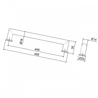 Ручка-скоба 448мм, отделка никель матовый 8.998.0448.30-30