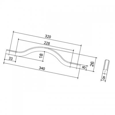Ручка-скоба 320-288мм, отделка никель глянец воронёный 8.1115.320288.32