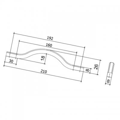 Ручка-скоба 192-160мм, отделка никель глянец воронёный 8.1115.192160.32