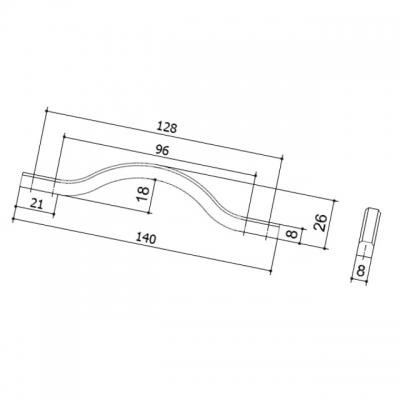 Ручка-скоба 128-096мм, отделка никель глянец воронёный 8.1115.128096.32
