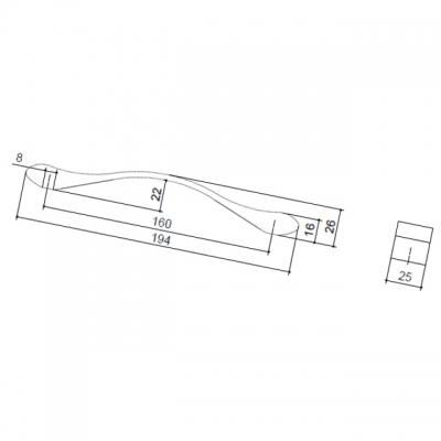 Ручка-скоба 160мм, отделка хром матовый 8.1066.0160.45