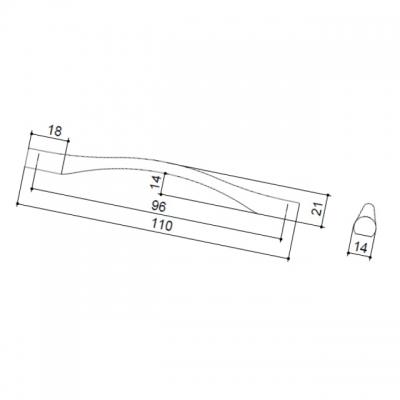 Ручка-скоба   96мм, отделка сталь шлифованная F105/D-CM