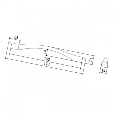 Ручка-скоба 160мм, отделка сталь шлифованная F105/F-CM