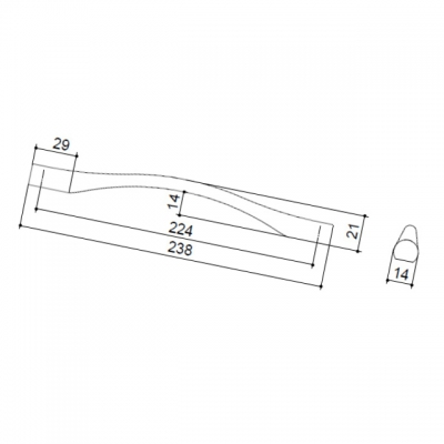 Ручка-скоба 224мм, отделка сталь шлифованная F105/G-CM
