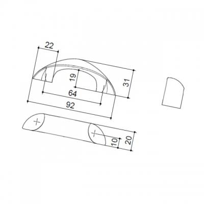 Ручка-скоба   64мм, отделка хром глянец F106/C-CR