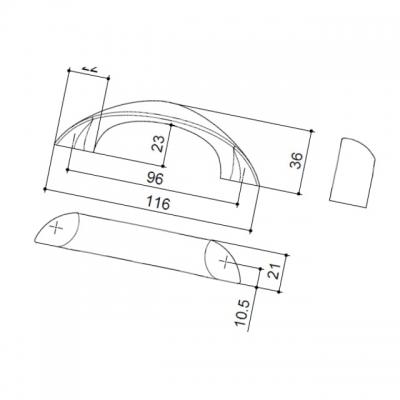 Ручка-скоба   96мм, отделка хром глянец F106/D-CR