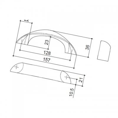 Ручка-скоба 128мм, отделка хром глянец F106/E-CR