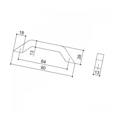 Ручка-скоба   64мм, отделка хром глянец F103/C-CR