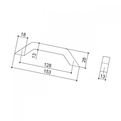 Ручка-скоба 128мм, отделка хром глянец F103/E-CR