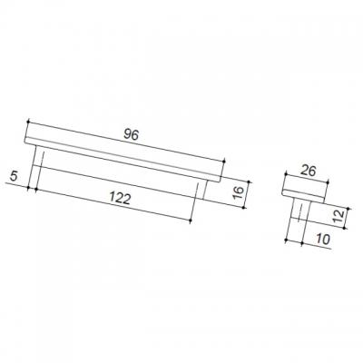Ручка-скоба   96мм, отделка хром глянец F108/D-CR