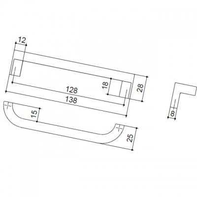 Ручка-скоба 128мм, отделка хром глянец F121/E-CR
