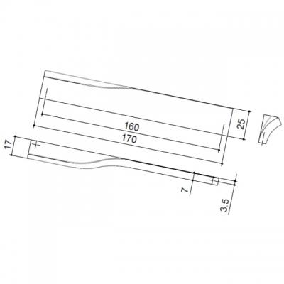 Ручка-скоба 160мм правая, отделка хром глянец F120/DX-CR