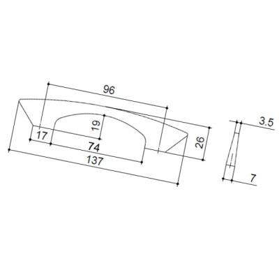Ручка-скоба 96мм, отделка хром глянец 8.1085.0096.40