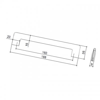 Ручка-скоба 160мм, отделка никель шлифованный 7531/038