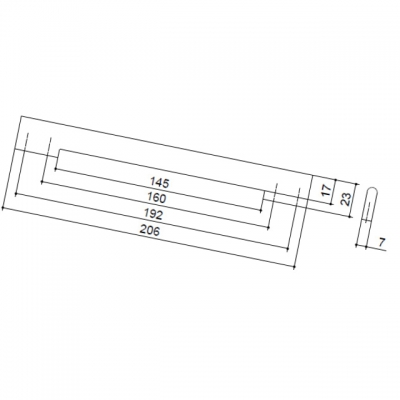 Ручка-скоба 192-160мм, отделка хром матовый лакированный 8.1054.192160.42