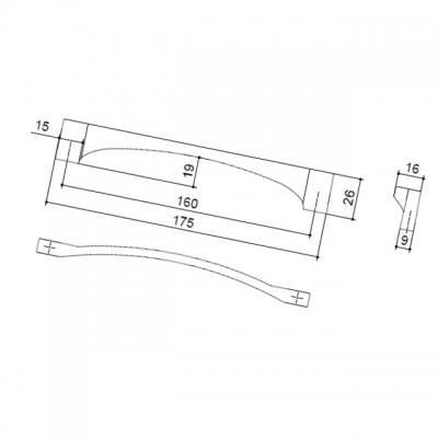 Ручка-скоба 160мм, отделка хром глянец 7671/400