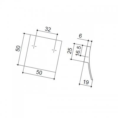 Ручка-скоба 32мм, отделка никель матовый 8.1041.0032.30