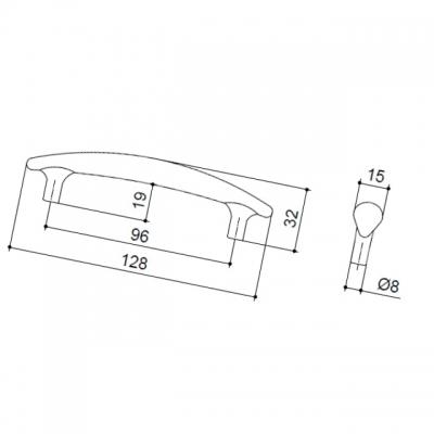 Ручка-скоба 96мм, отделка никель матовый 8.972.0096.30