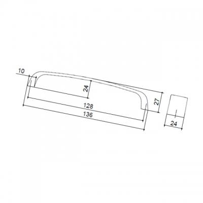 Ручка-скоба 128мм, отделка никель матовый 8.976.0128.30