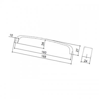 Ручка-скоба 160мм, отделка хром матовый лакированный 8.976.0160.42