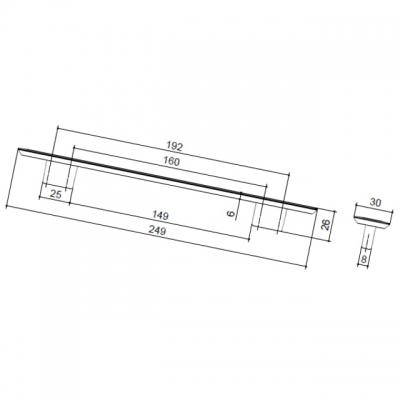 Ручка-скоба 192-160мм, отделка никель матовый 8.1043.192160.30