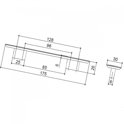 Ручка-скоба 128-096мм, отделка медь шлифованная 8.1043.128096.0623