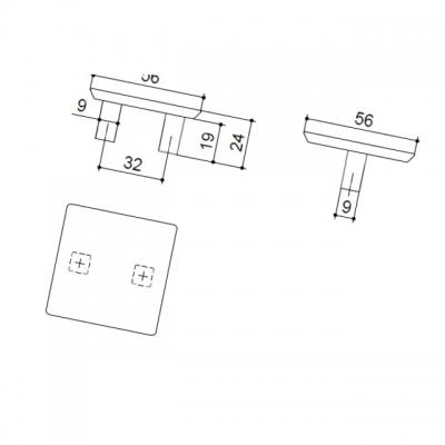 Ручка-скоба 32мм, отделка никель глянец шлифованный 8.1045.0032.34