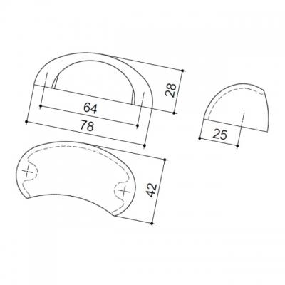 Ручка-скоба   64мм, отделка хром глянец F109/CR