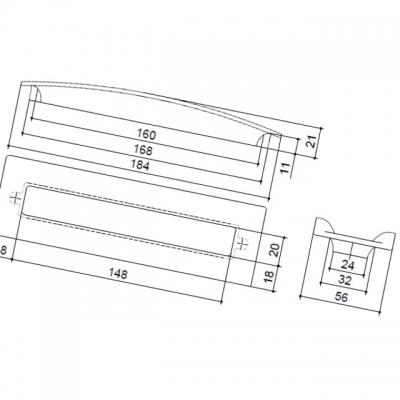 Ручка-скоба 160мм, отделка хром глянец 8.1090.0160.40