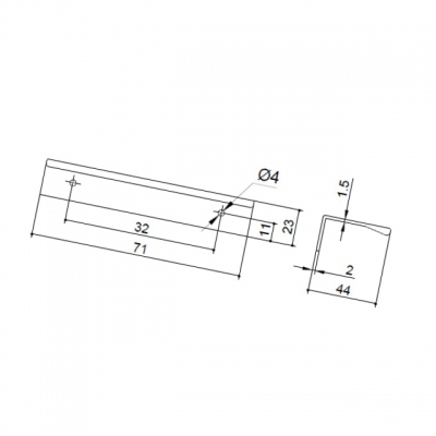 Ручка-скоба 32мм, отделка алюминий 7663/021