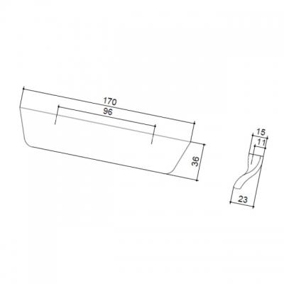 Ручка-скоба 96мм, отделка сталь шлифованная 532460096-66