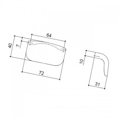 Ручка-кнопка 64мм, отделка сталь шлифованная S531560064-66